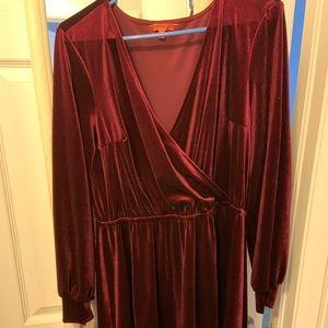 ModCloth red velvet knee length dress